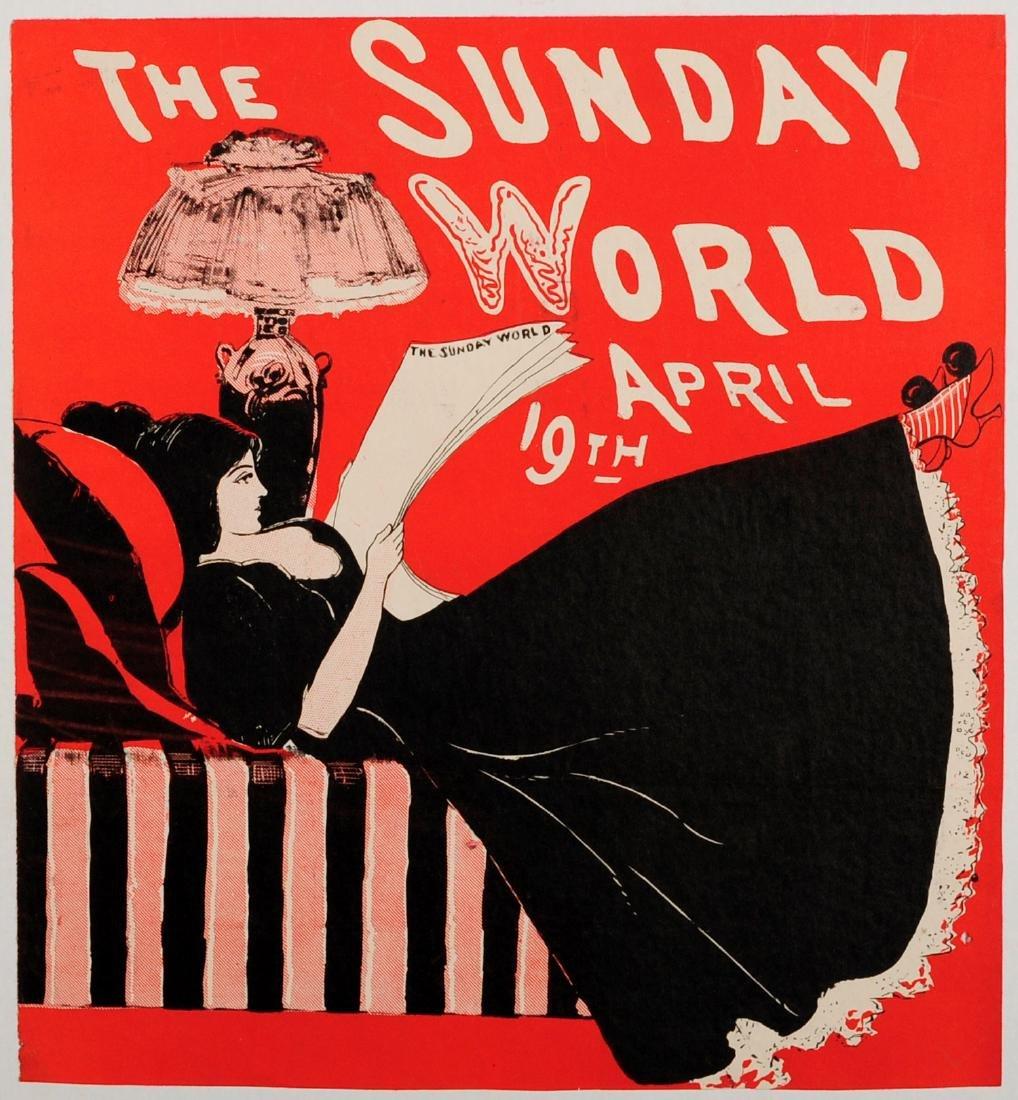Advertising Poster The Sunday World Magazine 1896 Belle