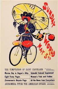 Advertising Poster The Sunday World Magazine Cycling