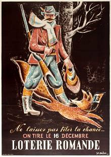 Advertising Poster Romande Lottery Hunter And Fox