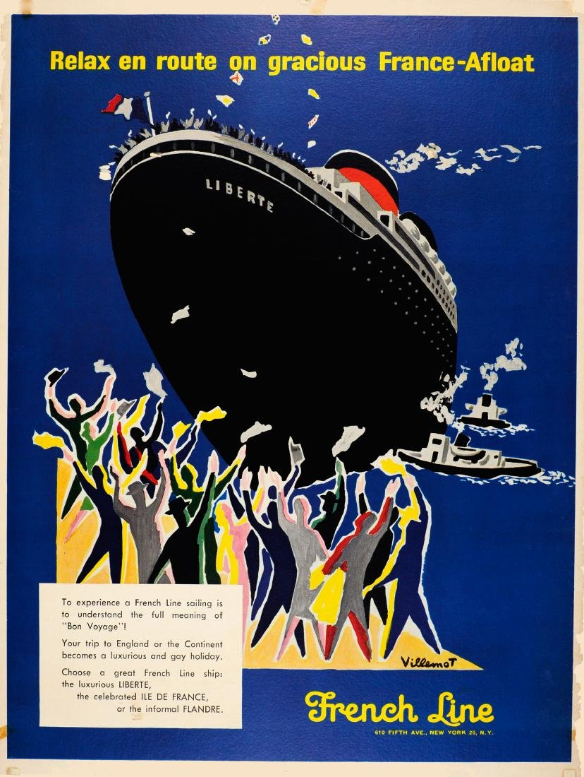 Advertising Poster French Line Cruise Shipping USA