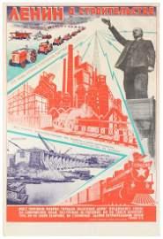 Propaganda Poster Lenin Construction USSR