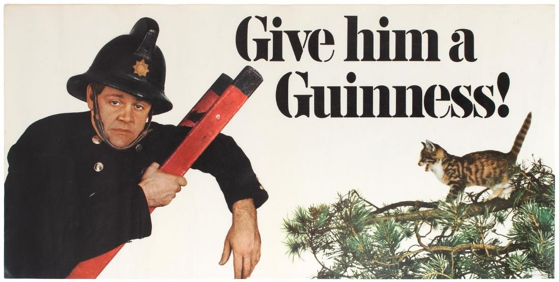 Advertising Poster Give Him a Guinness Fireman Kitten