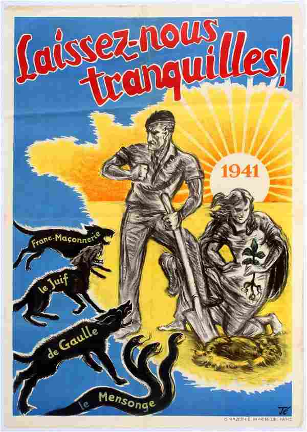 War Poster WWII Anti Semitic Masonic de Gaulle Nazi