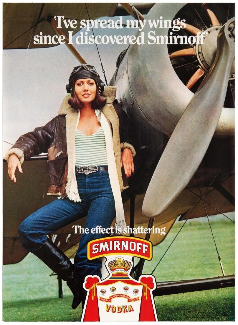 Advertising Poster Smirnoff Vodka Lady Pilot