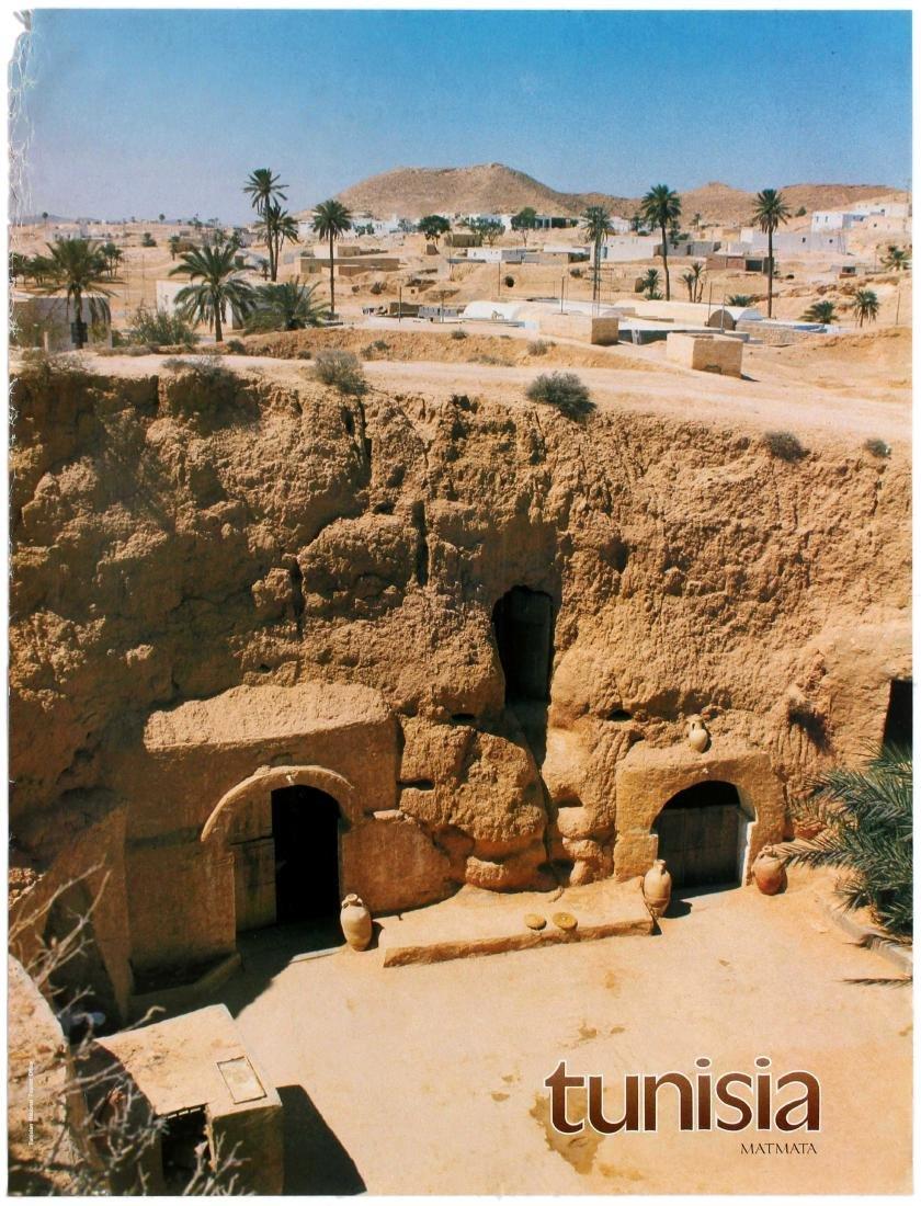 Travel Poster Tunisia Matmata Desert Village Troglodyte