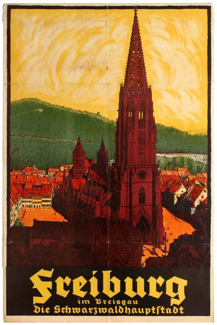 VINTAGE TRAVEL GERMANY DEUTSCHLAND CAR LIGHTS CHURCH CATHEDRAL PRINT B12X11905