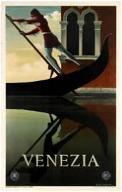 Travel Poster ENIT Venice Venezia Italy Cassandre 1951