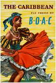 Travel Poster The Caribbean Dancer BOAC Airline Hayes