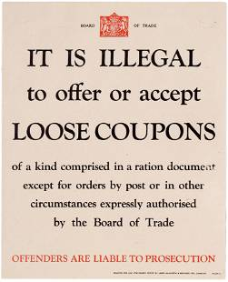 War Poster British WWII Food Coupons Rationing Home