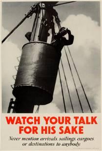 War Poster Careless Talk Royal Navy Merchant UK WWII