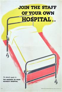 War Poster Join Your Hospital WWII UK Home Front