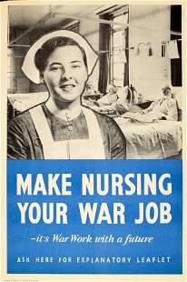 War Poster Make Nursing Your War Job WWII UK Home Front