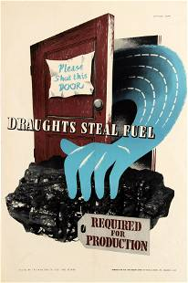 War Poster Draughts Steal Fuel WWII Home Front UK