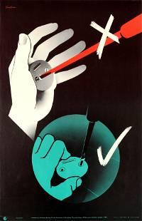 Propaganda Poster Screwdriver Hand Injury Work Safety