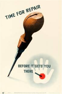 Propaganda Poster Carpentry Tools Work Safety Injury