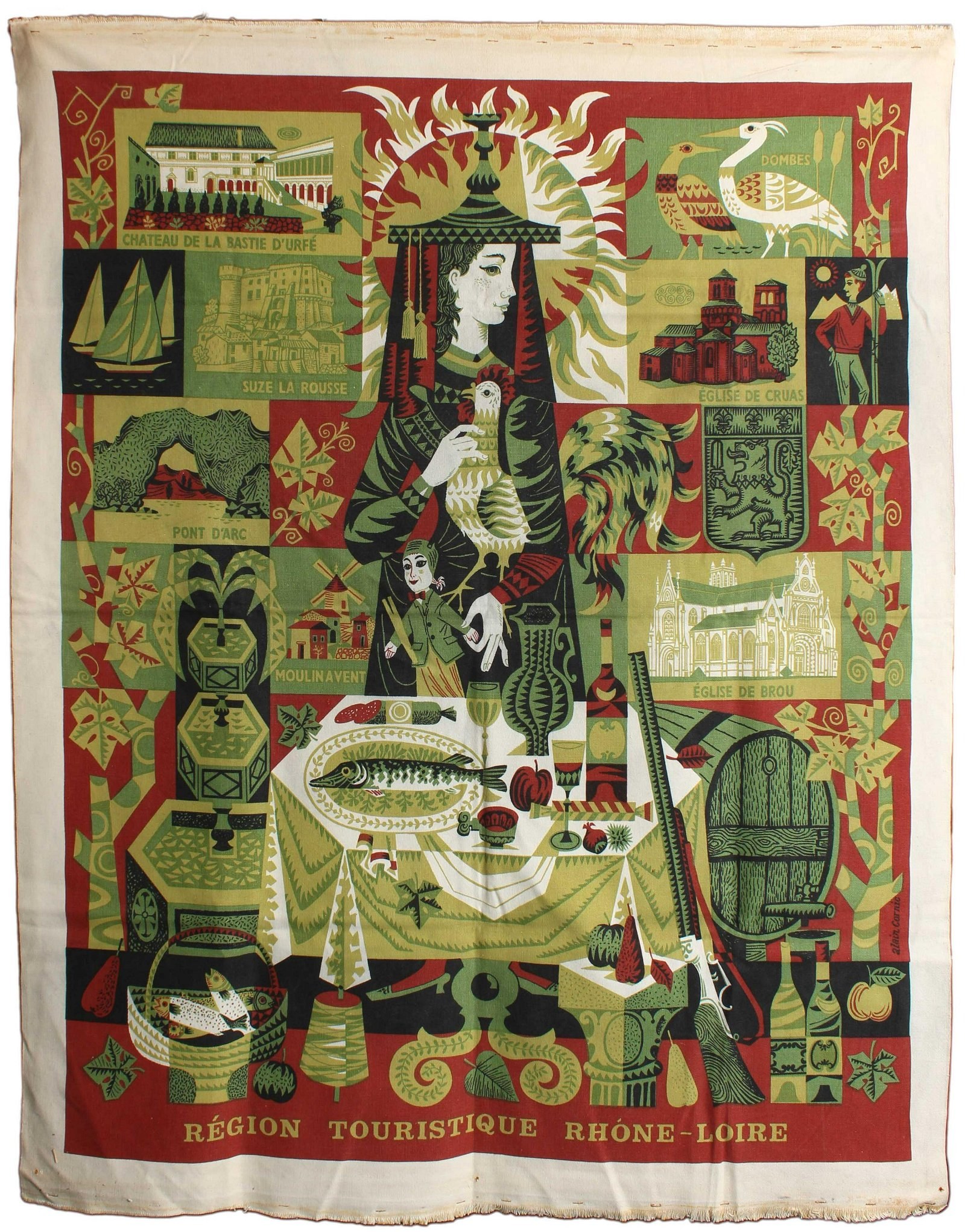 Travel Poster Wall Tapestry Rhone-Loire Tourism France