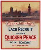 Propaganda Poster London Men WWI Recruiting UK Each