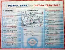 Sport Poster LT 1948 London Olympics Underground Map
