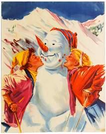Travel Poster Austria Snowman Skiing