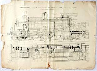 Antique Print Set The Engineer Steam Locomotive Train