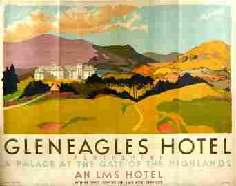 Original Travel  Poster Gleneagles Hotel LMS Perthshire