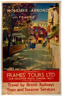 Original Travel Poster Holidays Abroad Capri Italy