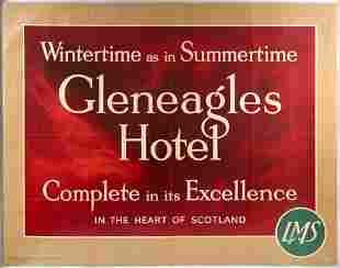 Original Travel Poster Gleneagles Hotel LMS Golf