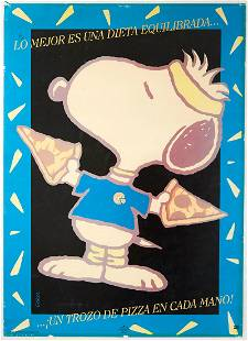 Original Advertising Poster Snoopy Schulz Pizza Workout