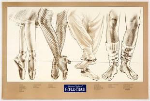 Original Advertising Poster Dance School Feet Ballet