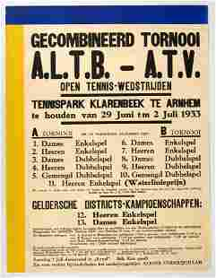 Original Sport Poster Klarenbeek Tennis Park Arnheim