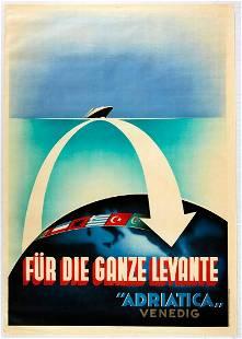 Original Travel Poster Adriatica Cruise Ship Art Deco