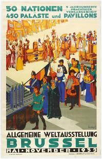 Original Travel Poster Brussels General World