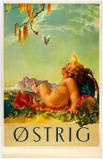 Original Travel Poster Austria Cupid Mountains Amanita