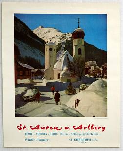 Original Travel Poster Austria St Anton am Arlberg Alps