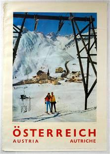 Original Travel Poster Austria Travel Skiing Arlberg