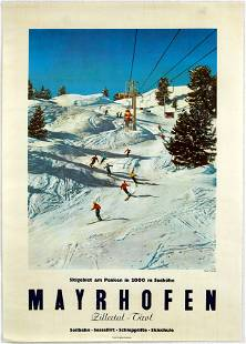 Original Travel Poster Mayrhofen Skiing Austria