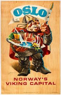 Original Travel Poster Oslo Norway Viking Capital