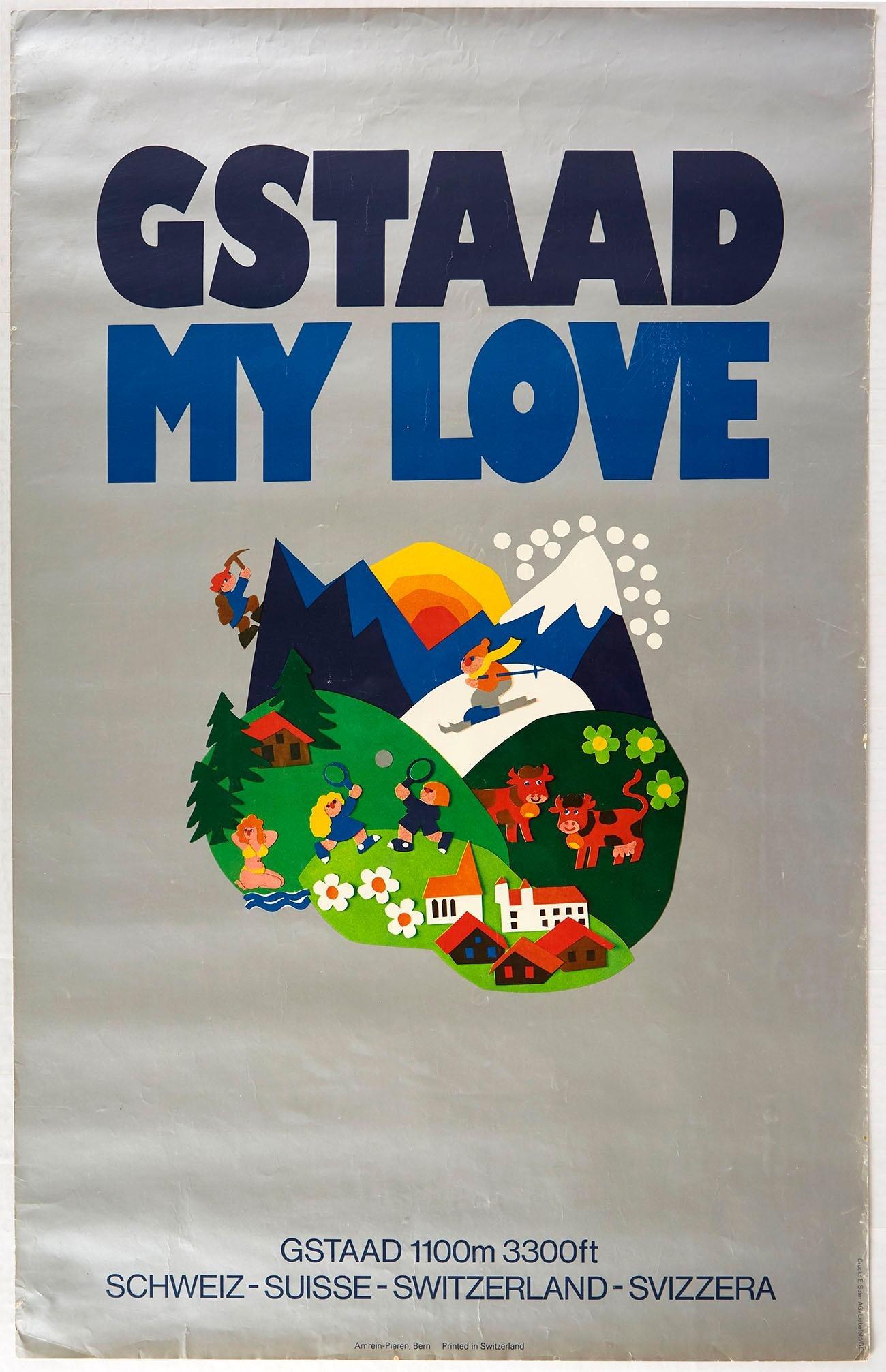 Original Travel Poster Gstaad My Love Ski Switzerland