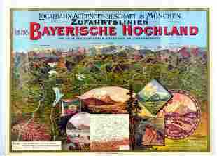 Travel Poster Bavaria Mountains Railway Germany