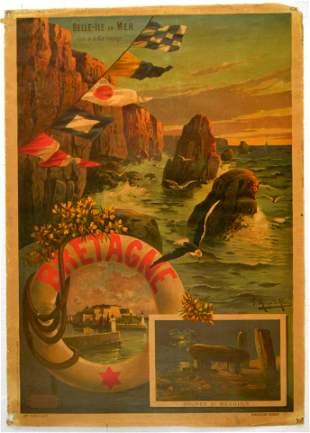 Travel Poster Britanny Bretagne France Hugo Alesi
