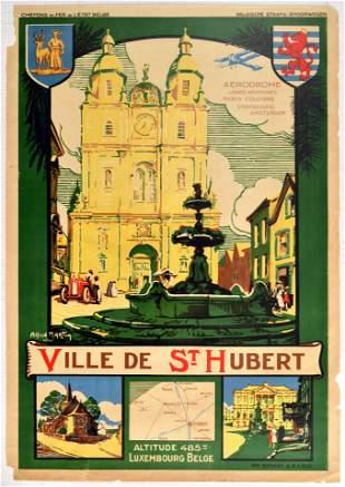 Travel Poster Ville De St Hubert Travel Luxembourg