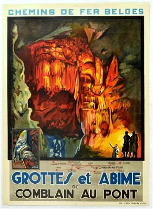 Travel Poster Grottes Et Abime Grotto Cave Of Comblain