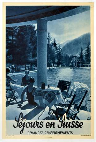 Travel Poster Sejours en Suisse Swimming Mountains