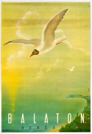 Travel Poster Balaton Hungary Seagull