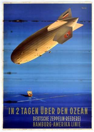 Travel Poster Across the Ocean in 2 days German