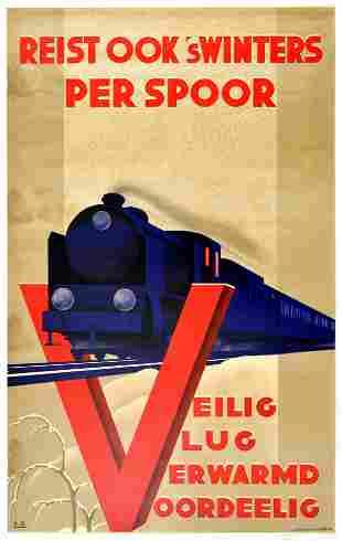 Travel Poster Railway Travel Winter Art Deco