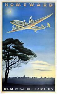 Travel Poster Homeward KLM Royal Dutch Airlines