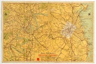 Travel Poster Brisbane City Suburbs Australia Map
