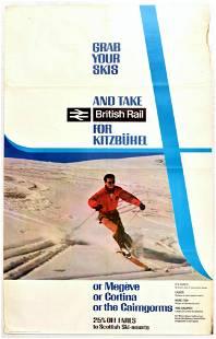 Travel Poster Kitzbuhel Megeve Cortina Ski British