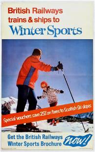 Travel Poster British Railways Winter Sports Scotland